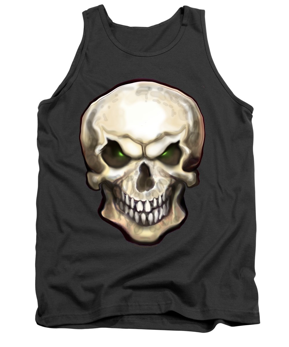 Skull Tank Top featuring the painting Evil Skull by Kevin Middleton