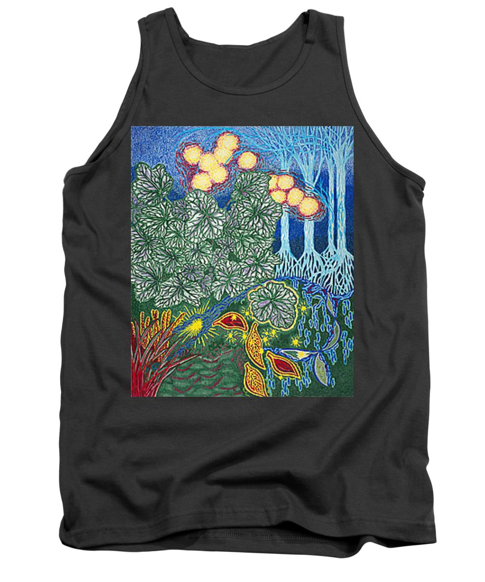 Art Tank Top featuring the drawing Exciting Harmony Art Prints And Gifts Autumn Leaves Botanical Garden Park Plants by Baslee Troutman