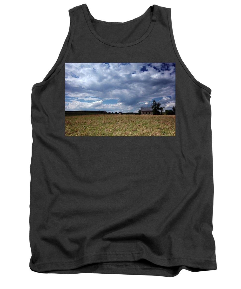 Kansas Tank Top featuring the photograph F06 003 Flint Hills Schoolhouse by Jon Friesen