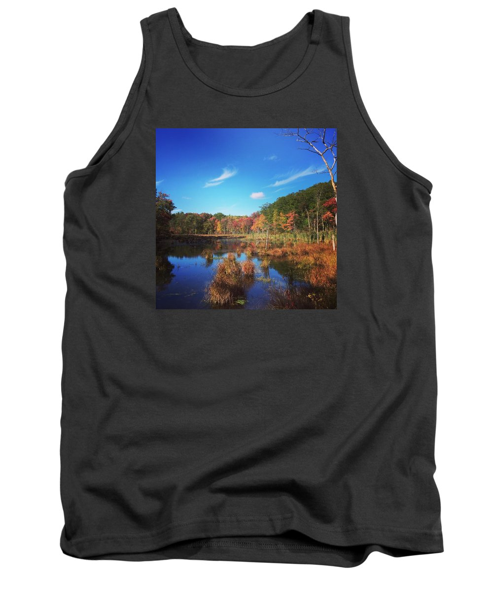 Fall Tank Top featuring the drawing Fall At The Pond by Jason Nicholas