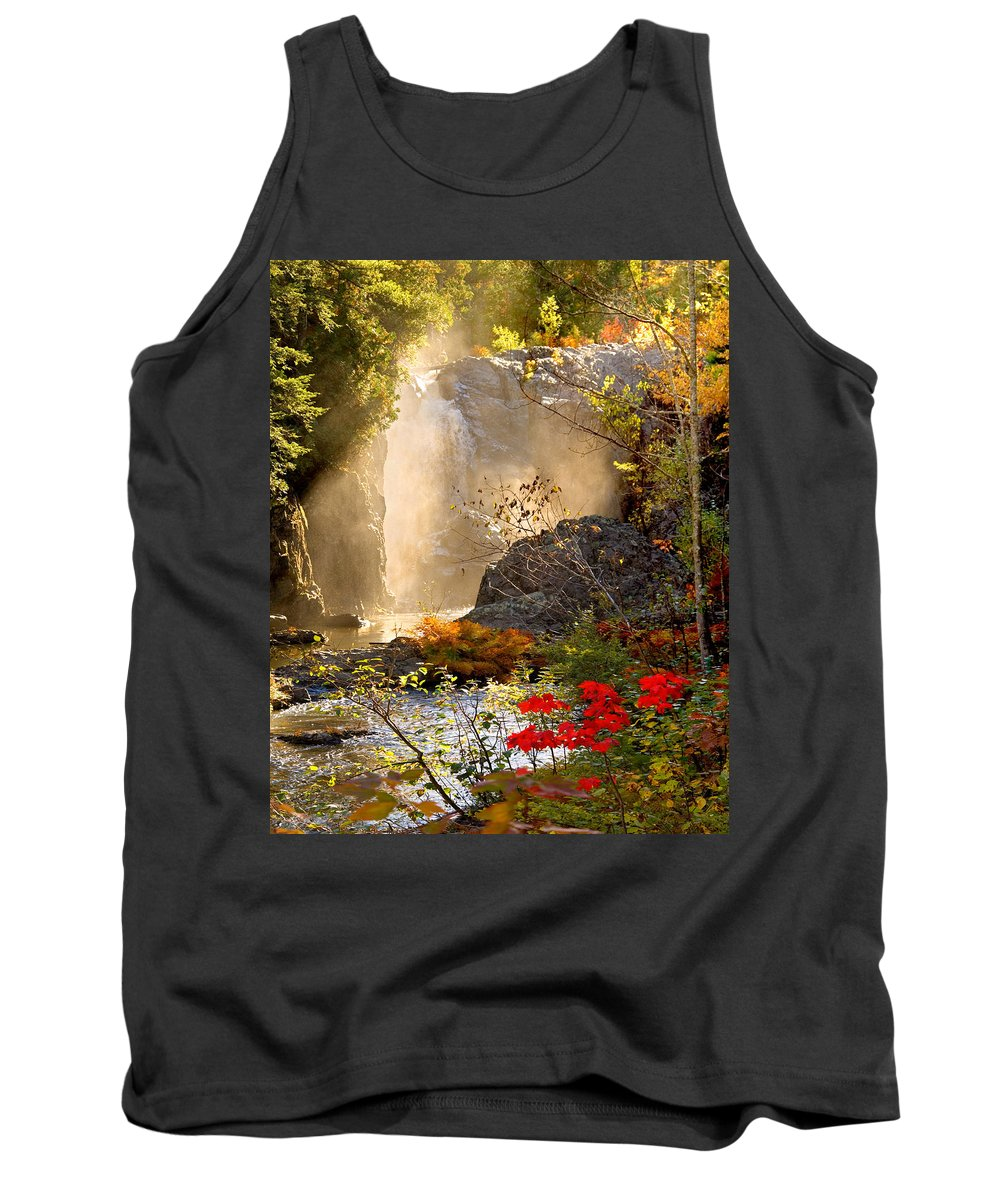 Fall Tank Top featuring the photograph Fall Falls Mist Dead River Falls Marquette Mi by Michael Bessler