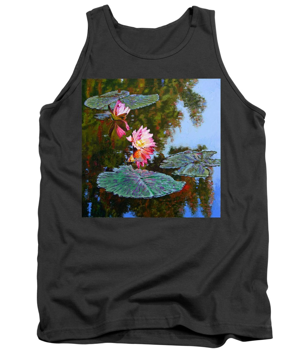 Water Lily Tank Top featuring the painting Fall Glow by John Lautermilch
