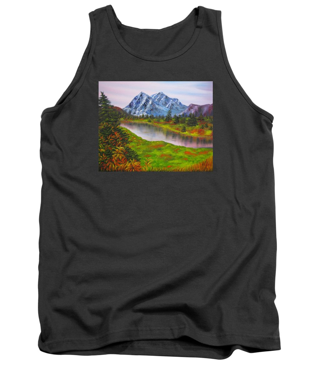 Fall Tank Top featuring the painting Fall in Mountains Landscape oil painting by Natalja Picugina