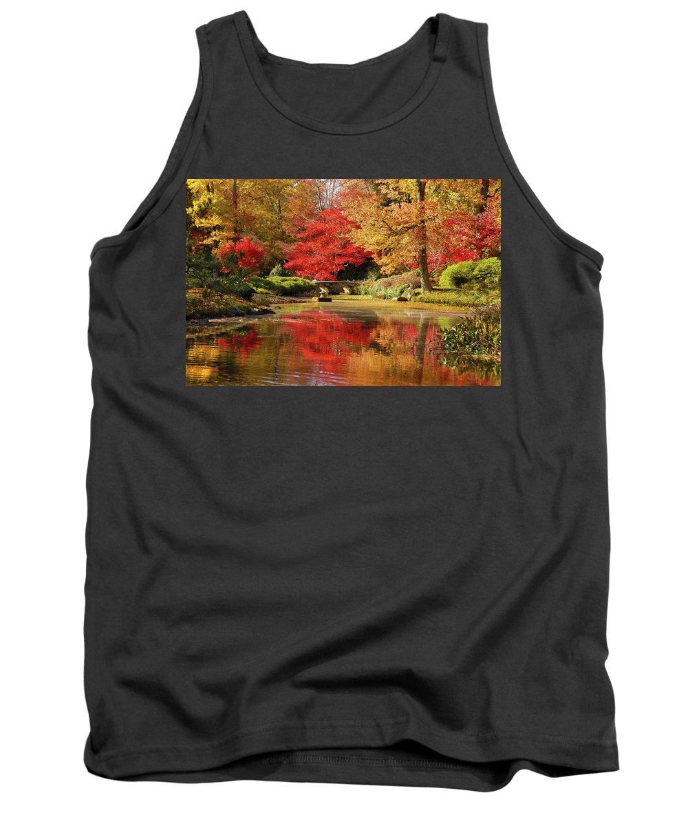 Fall Tank Top featuring the photograph Fall On Fire by Linda Eszenyi