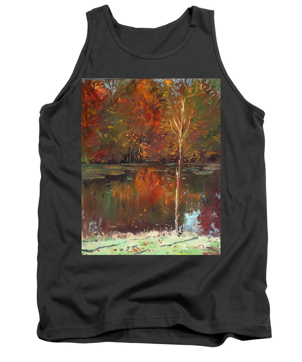 Landscape Tank Top featuring the painting Fall Reflection by Ylli Haruni