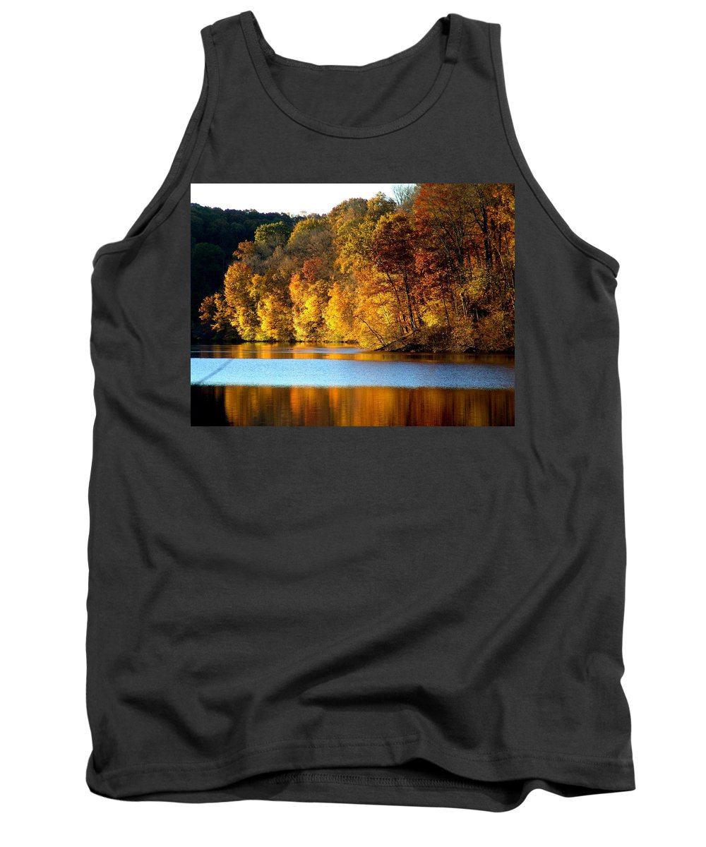 Trees Tank Top featuring the photograph Fall Reflections Of Indiana by Carol Milisen