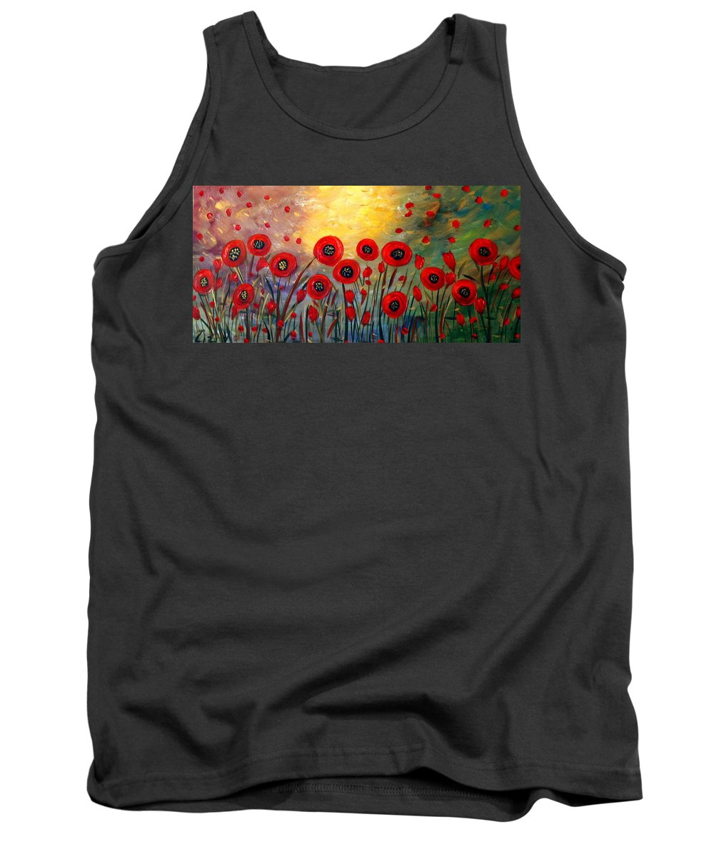 Flowers Tank Top featuring the painting Fall Time Poppies by Luiza Vizoli