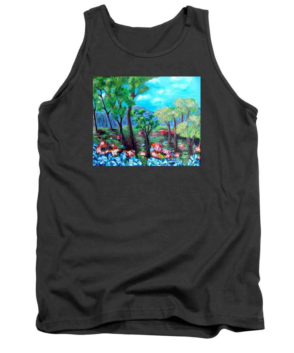 Fantasy Tank Top featuring the painting Fantasy Forest by Laurie Morgan