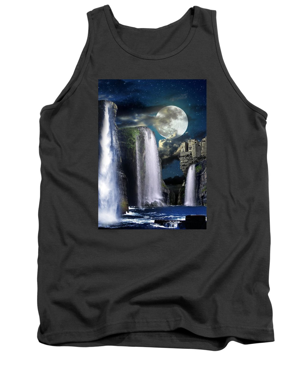 Manipulated Photography Tank Top featuring the digital art Fantasy Gorge Color by Tim Casara