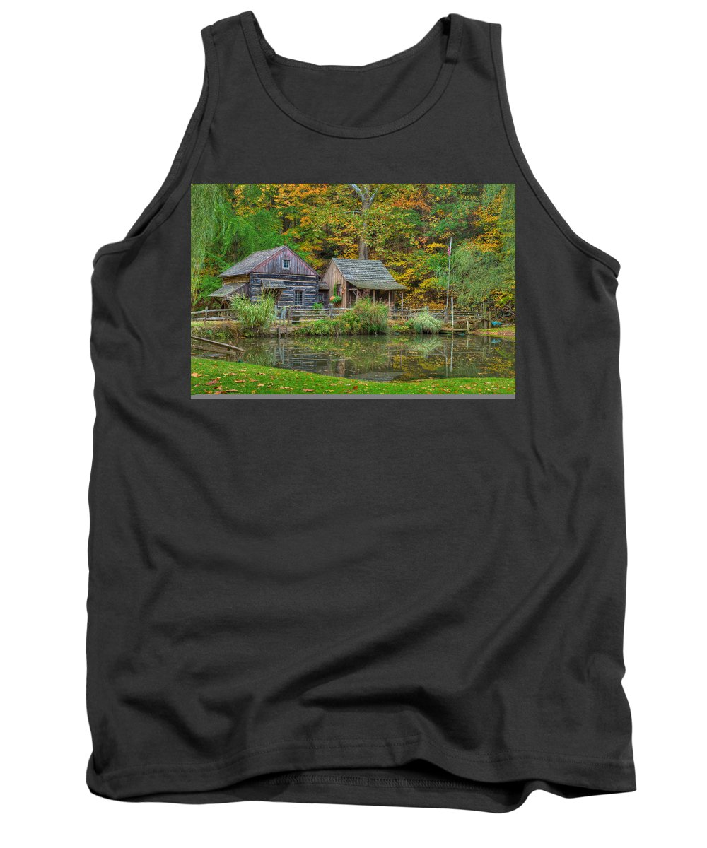Farm Tank Top featuring the photograph Farm In Woods by William Jobes