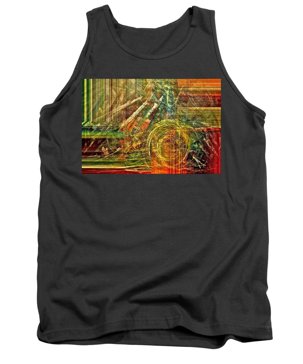 Abstract Tank Top featuring the mixed media Farming by Gwyn Newcombe