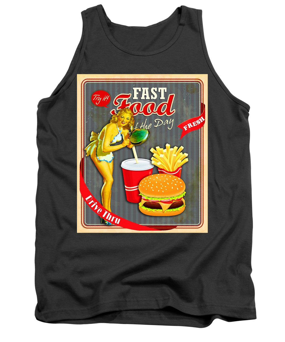Comics Tank Top featuring the digital art Fast Food Of The Day by Don Kuing