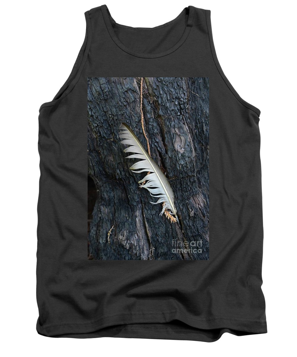 Tree Tank Top featuring the photograph Feather In Burnt Tree by Bruce Chevillat