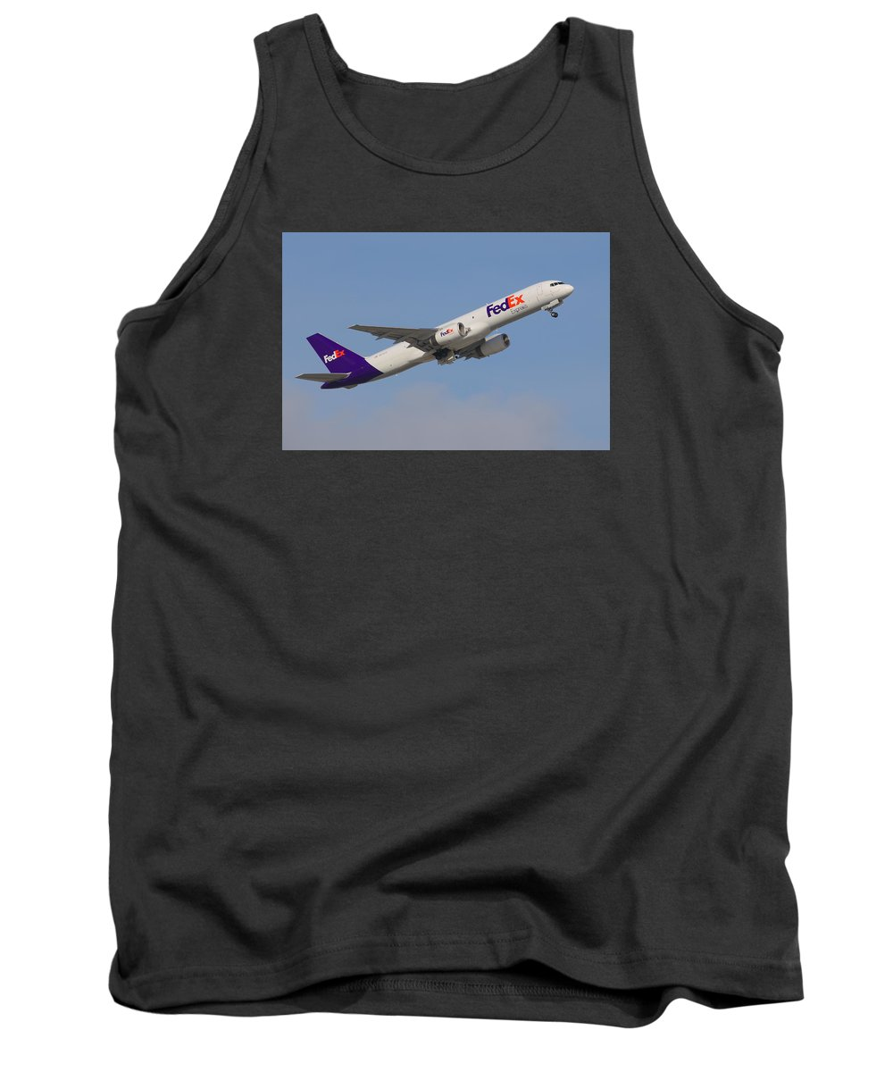Airplane Tank Top featuring the photograph Fedex Jet by Dart and Suze Humeston