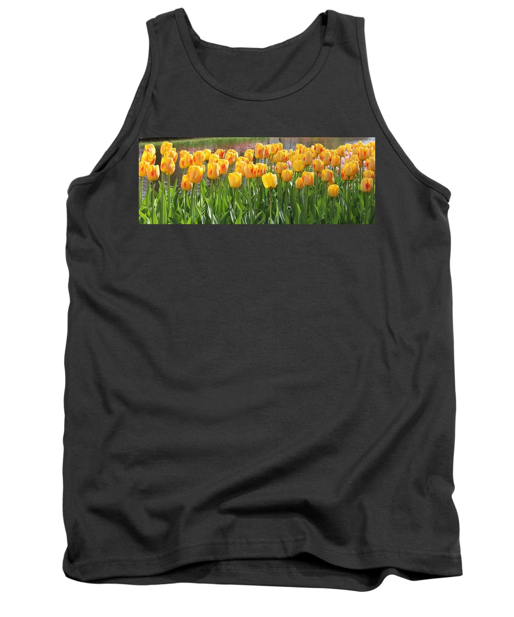 Tulips Flowers Colors Garden Outdoors Colorful Happy Keukenhof Relaxing Pleasing Attractive Vibrant Tank Top featuring the photograph Fell Into Yellow by Charles Van Wagenen Jr