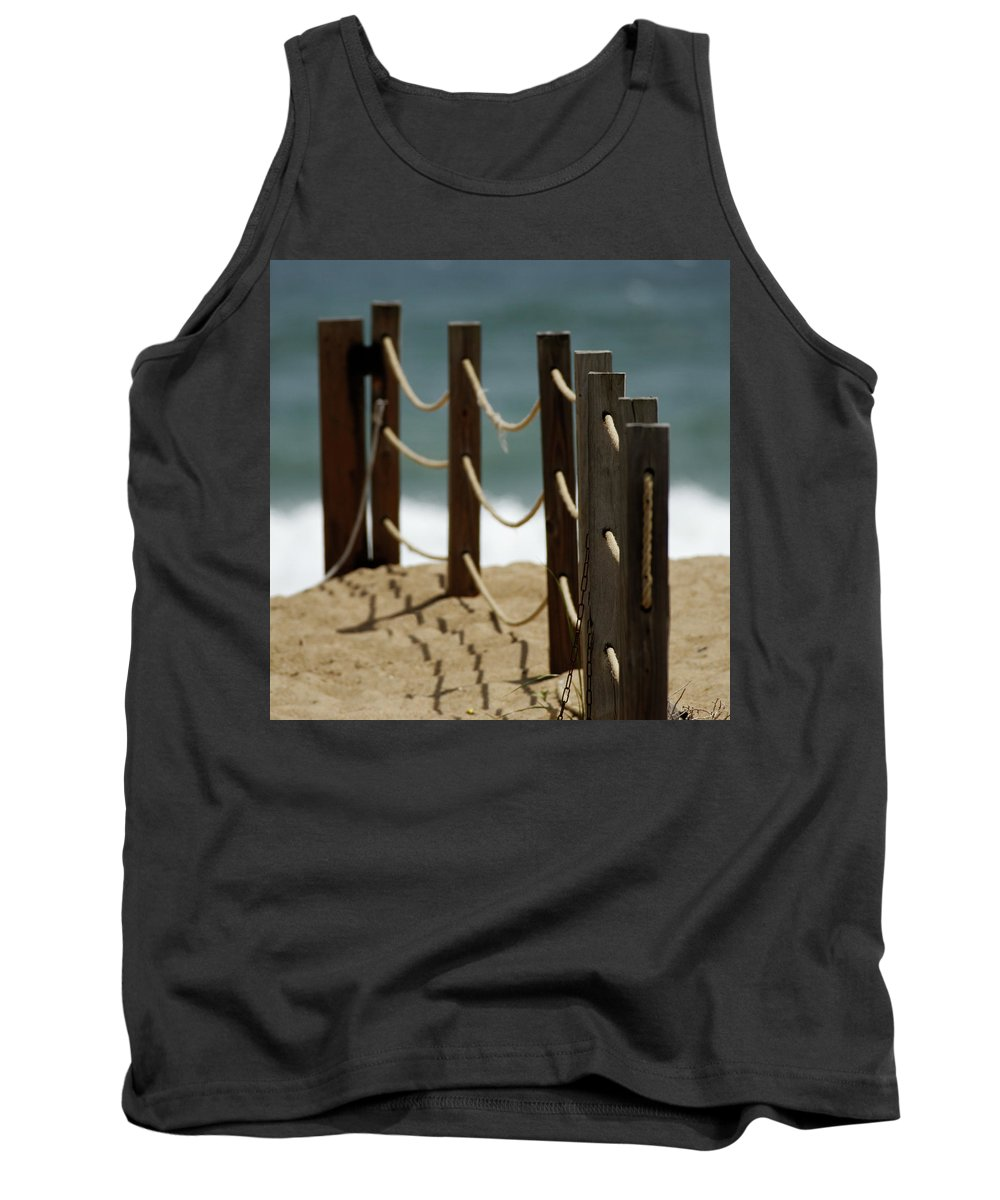 Fence Tank Top featuring the photograph Fence Along The Beach by Julie Niemela