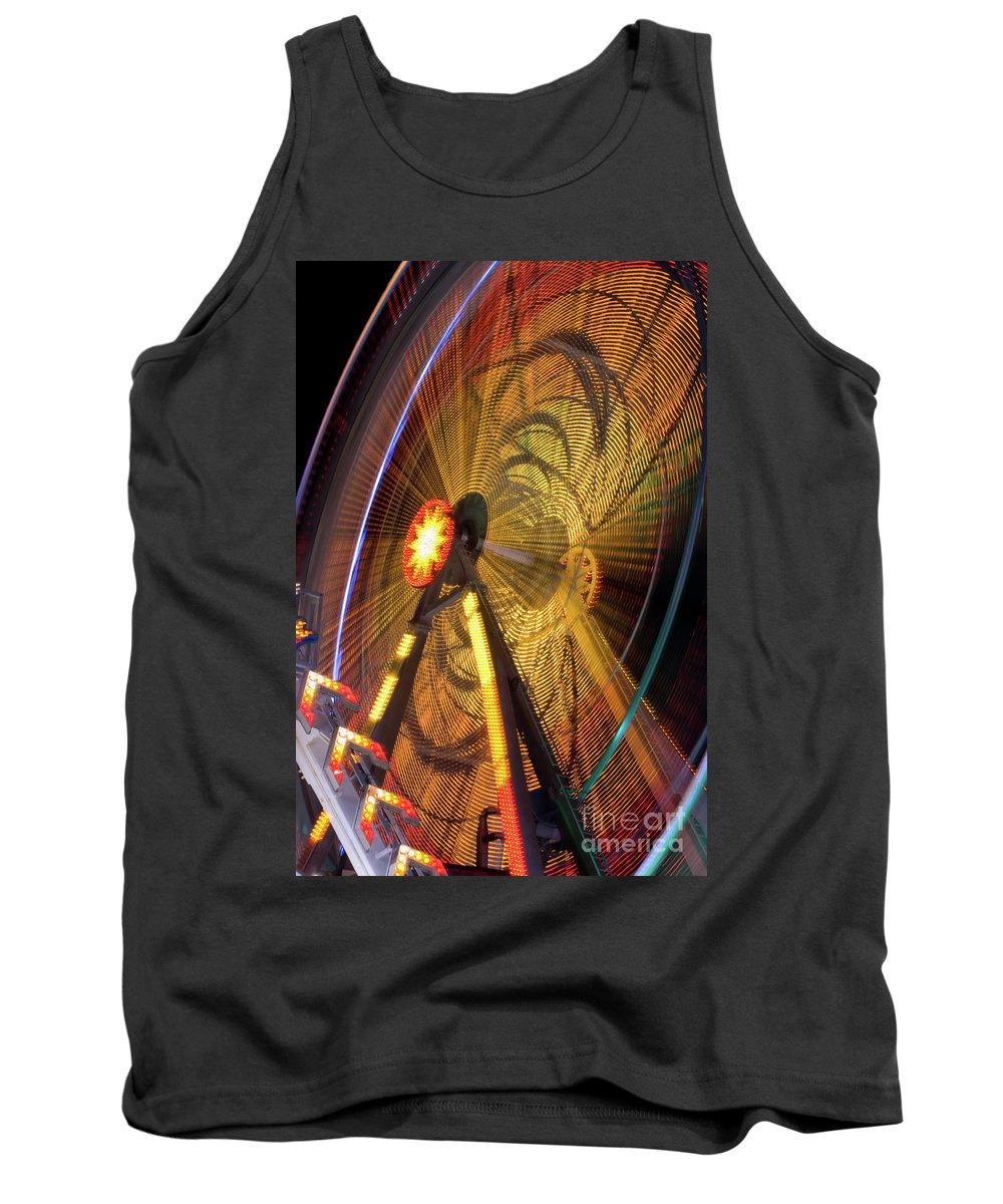 Ferris Wheel Tank Top featuring the photograph Ferris Wheel At Night by Anthony Totah