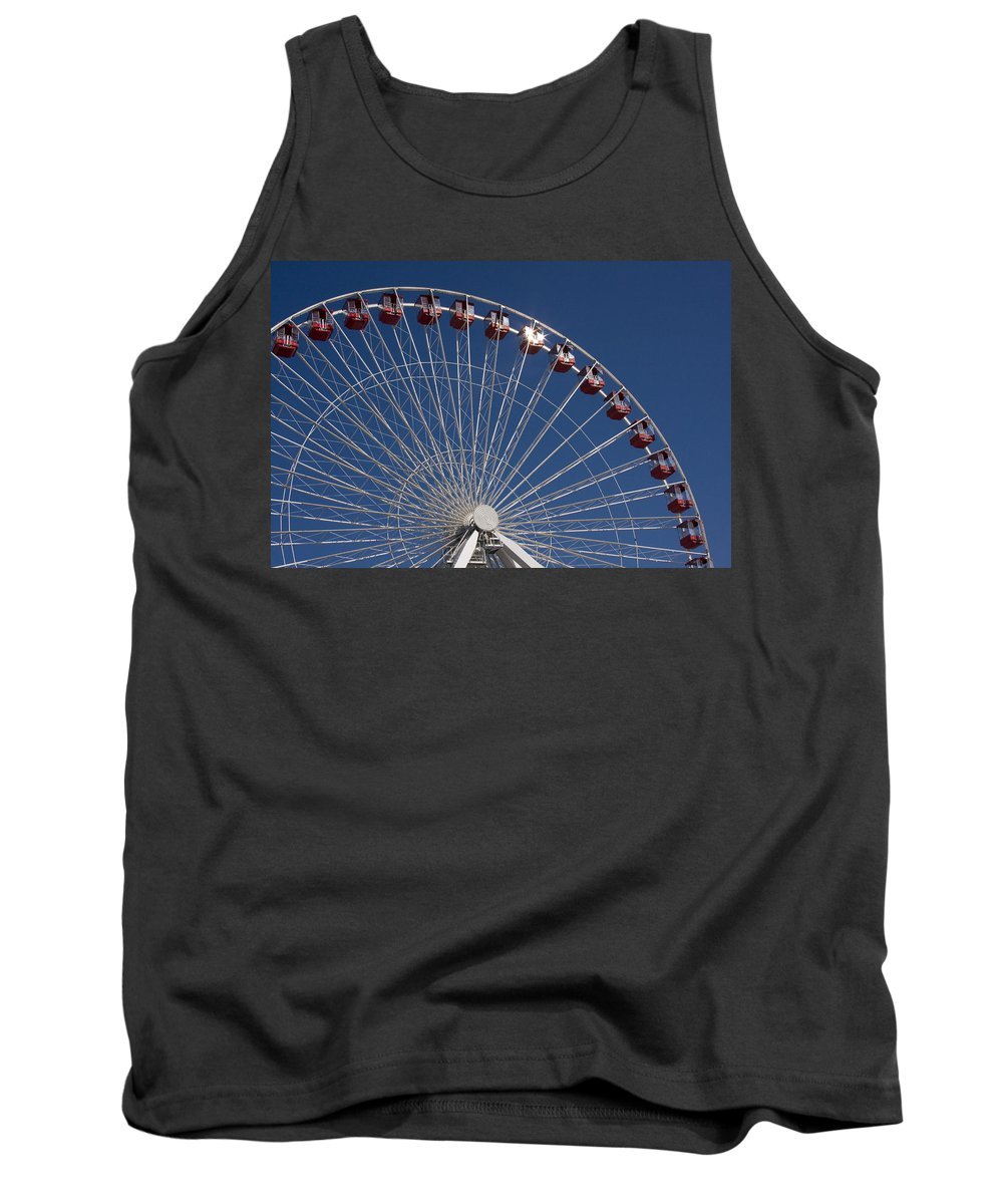 Chicago Ferris Wheel Navy Pier Windy City Attraction Tourist Tourism Travel Blue Sky Tank Top featuring the photograph Ferris Wheel IIi by Andrei Shliakhau
