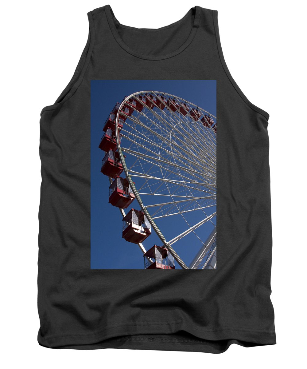 Chicago Windy City Ferris Wheel Navy Pier Attraction Tourism Round Tourist Travel Blue Sky Park Tank Top featuring the photograph Ferris Wheel Iv by Andrei Shliakhau