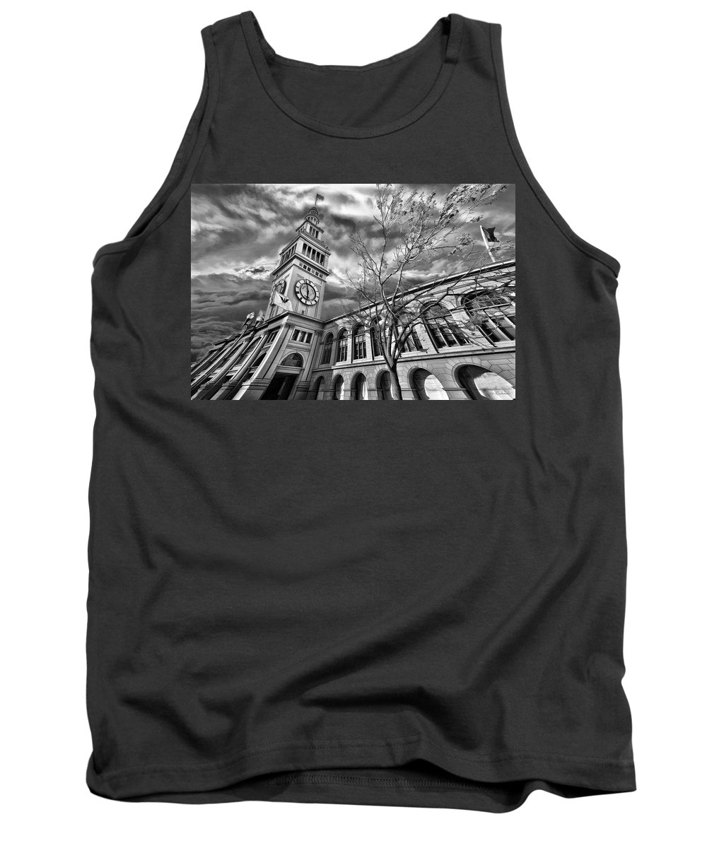 Ferry Building Tank Top featuring the photograph Ferry Building Black White by Blake Richards