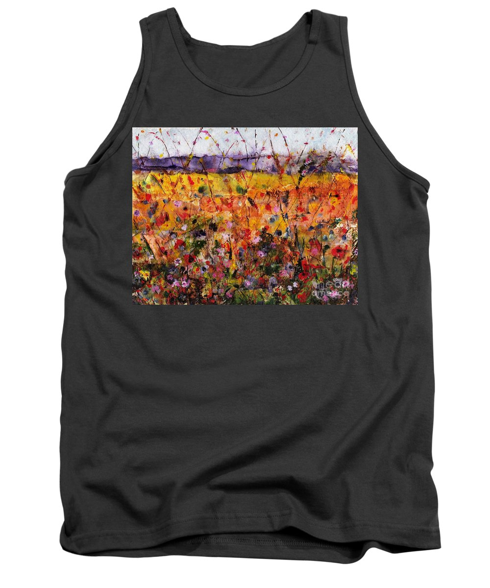 Flowers Tank Top featuring the painting Field Of Dreams by Frances Marino