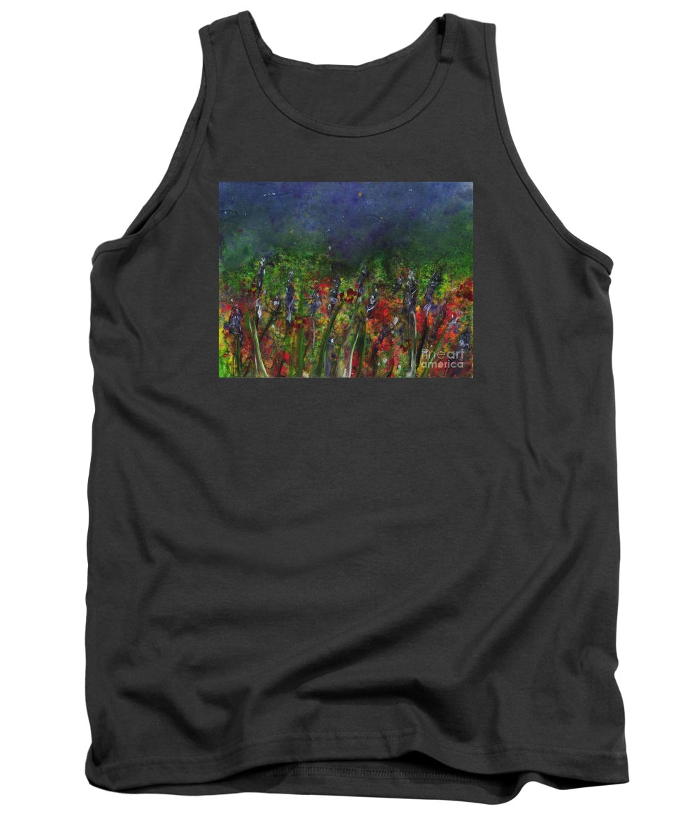 Flowers Tank Top featuring the painting Field Of Flowers by Lynn Quinn
