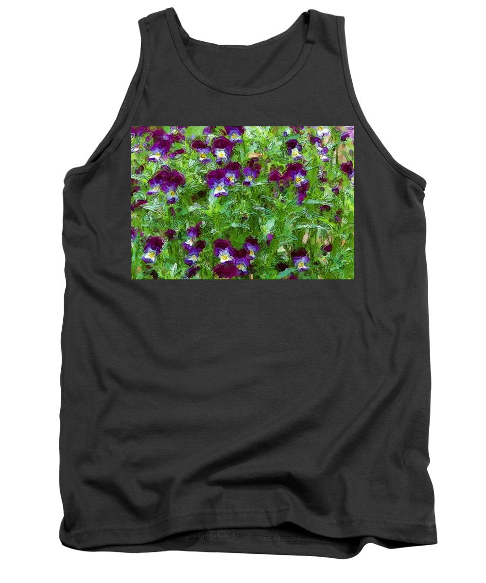 Digital Photograph Tank Top featuring the photograph Field Of Pansy's by David Lane