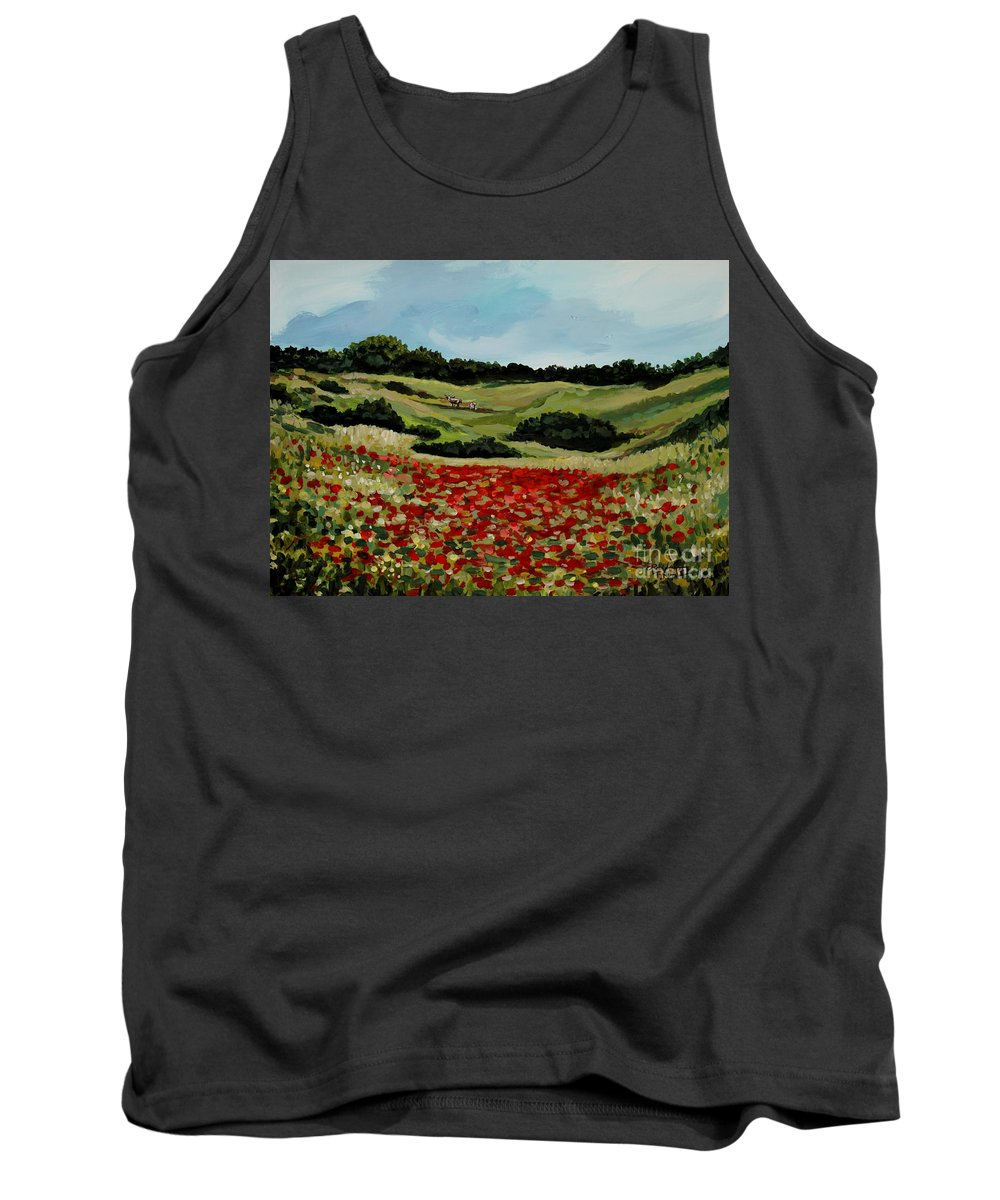 Landscape Tank Top featuring the painting Field Of Poppies by Elizabeth Robinette Tyndall
