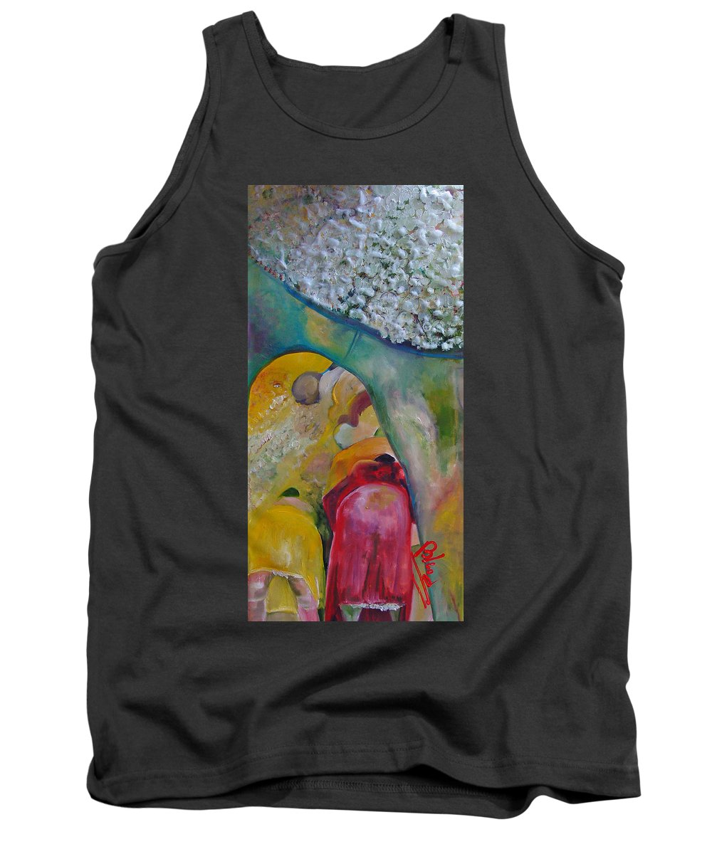 Cotton Tank Top featuring the painting Fields Of Cotton by Peggy Blood