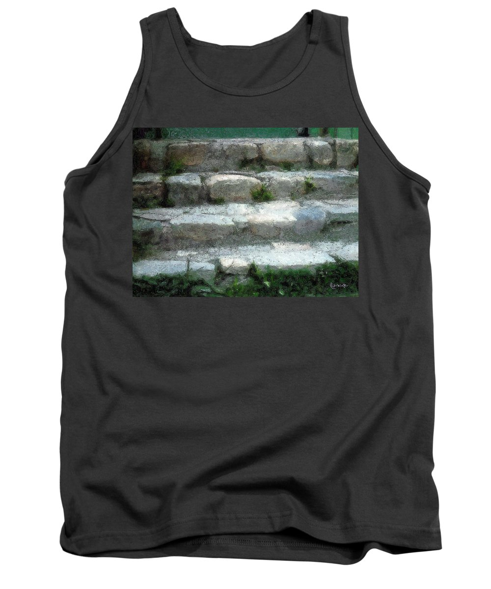 Connecticut Tank Top featuring the digital art Fieldstone Stairs New England by RC DeWinter
