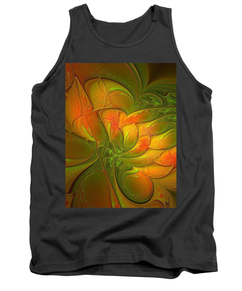 Digital Art Tank Top featuring the digital art Fiery Glow by Amanda Moore
