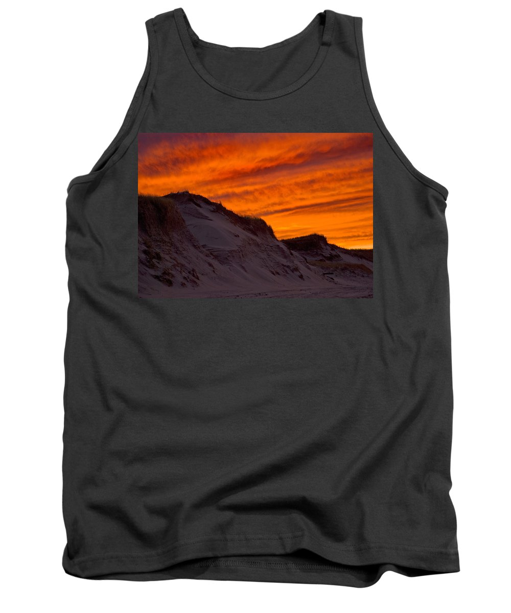 Fire Tank Top featuring the photograph Fiery Sunset Over The Dunes by Charles Harden