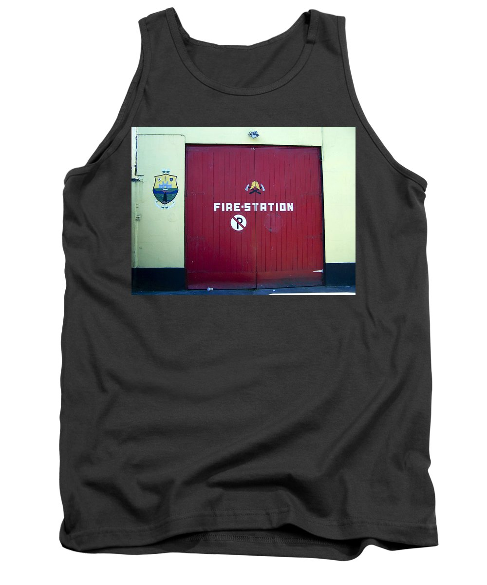 Irish Tank Top featuring the photograph Fire Door In Macroom Ireland by Teresa Mucha