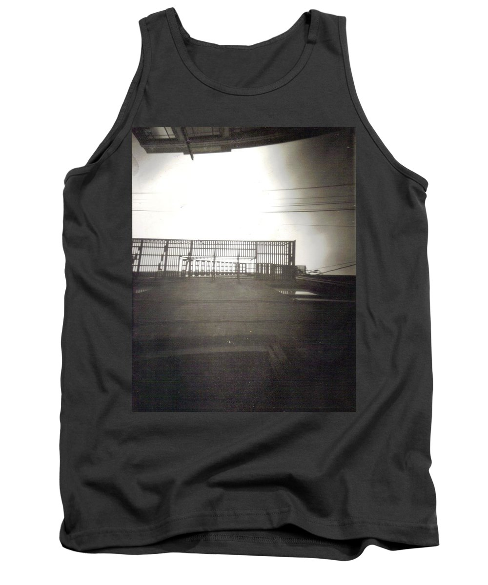 Black And White Photograph Tank Top featuring the photograph Fire Escape by Thomas Valentine