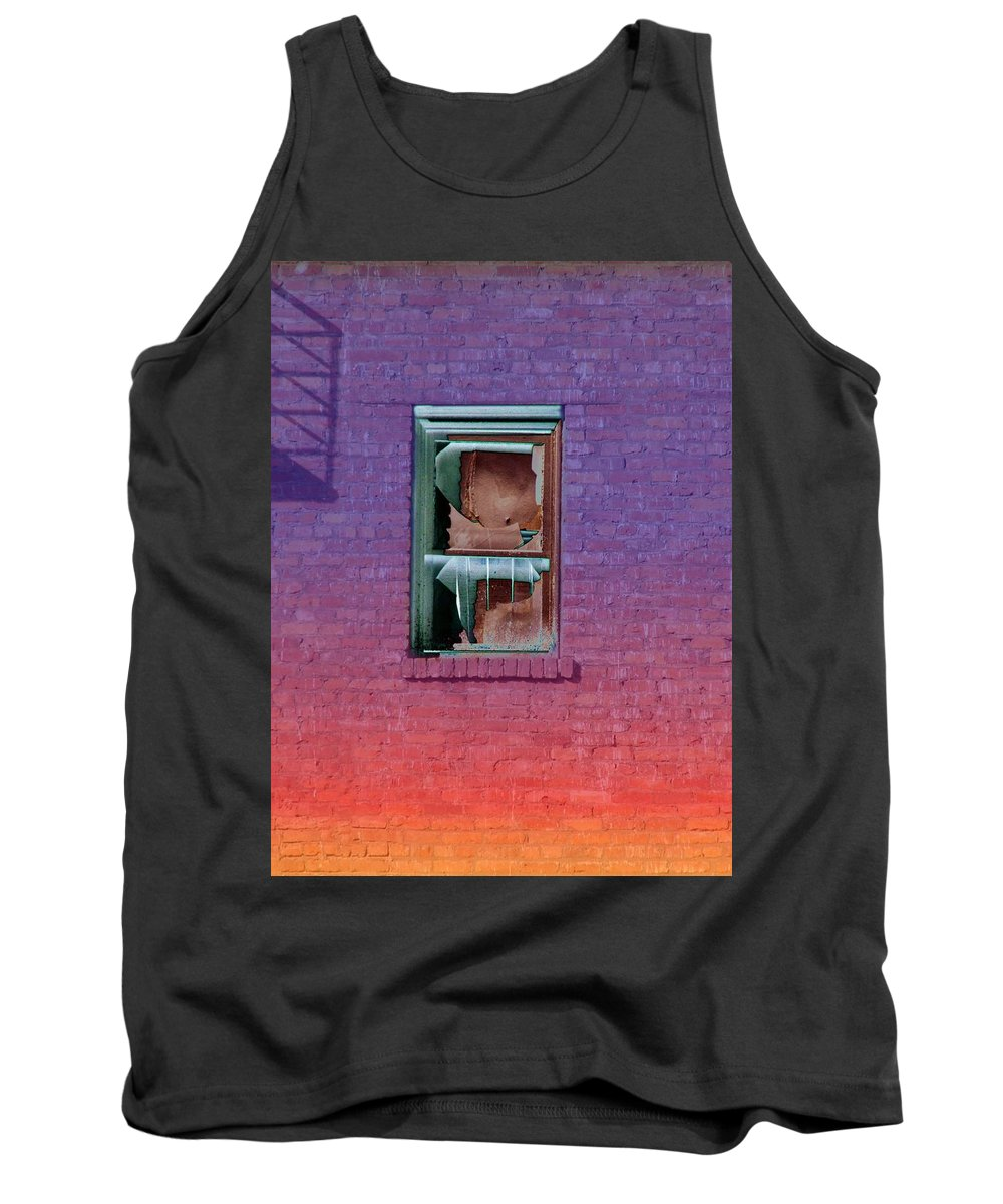 Architecture Tank Top featuring the photograph Fire Escape Window 2 by Tim Allen