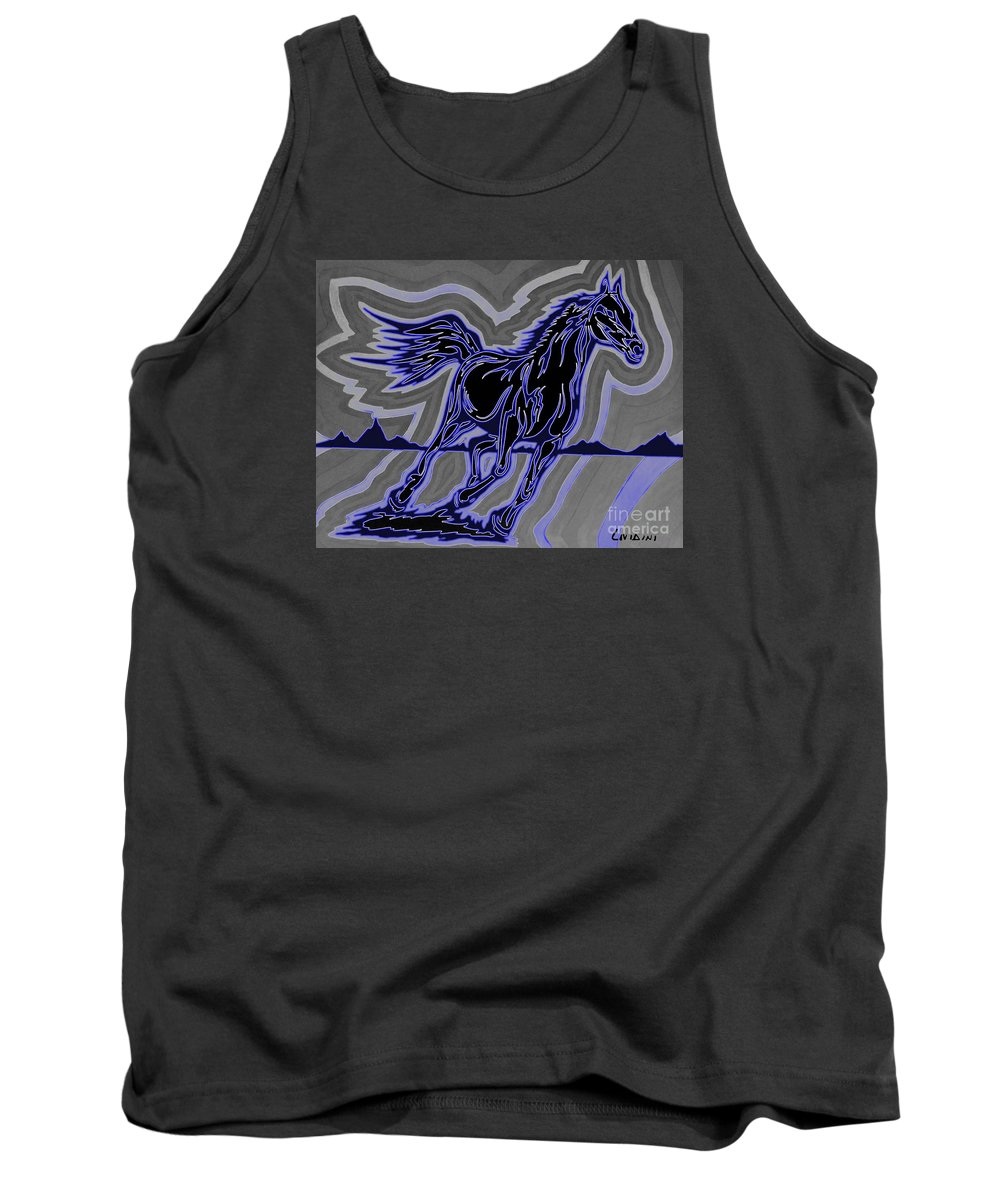 Horses Tank Top featuring the painting Fire Horse Zap 4 by Peter Paul Lividini