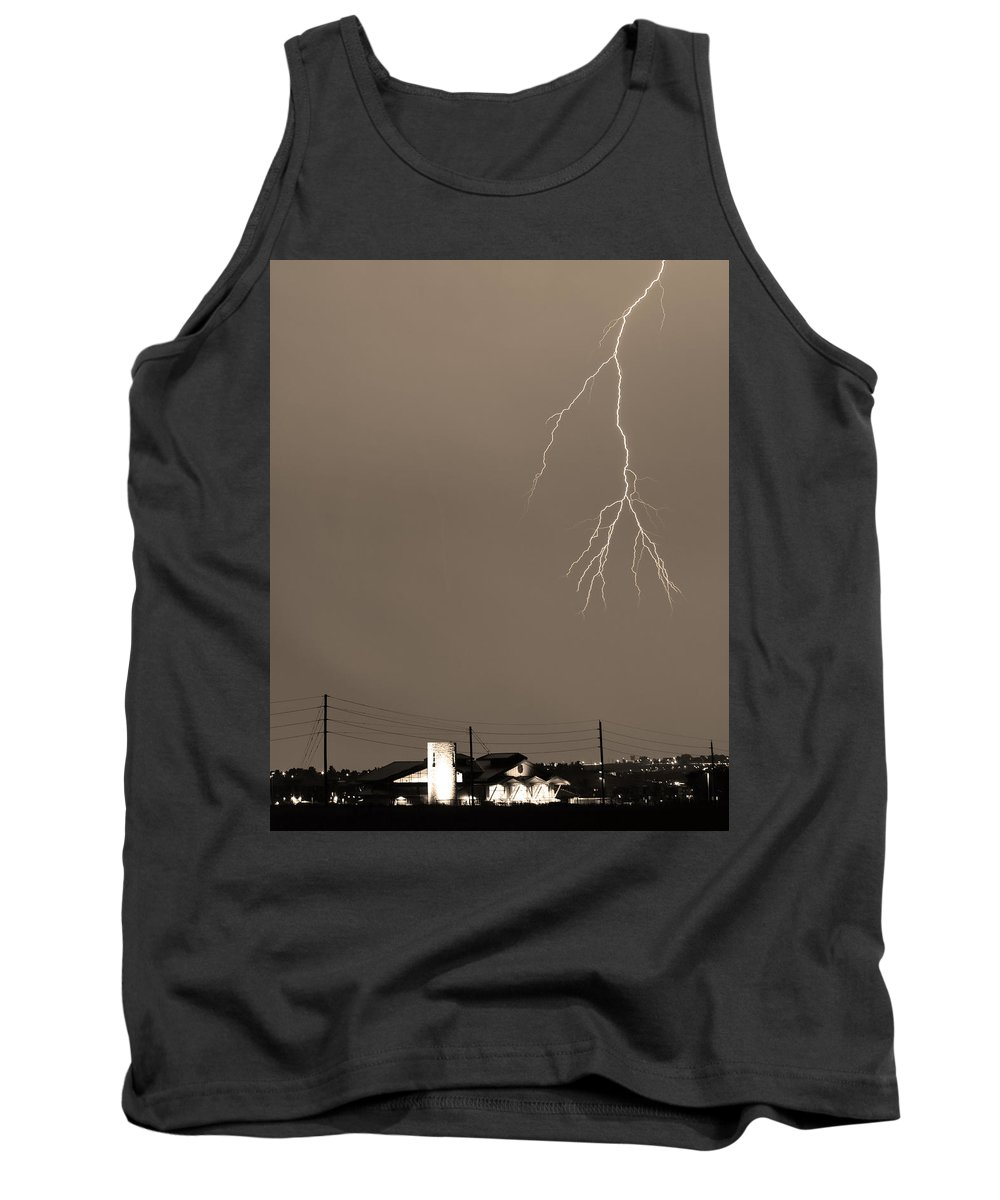 Boulder Tank Top featuring the photograph Fire Rescue Station 67 Lightning Thunderstorm 2c Bw Sepia by James BO Insogna