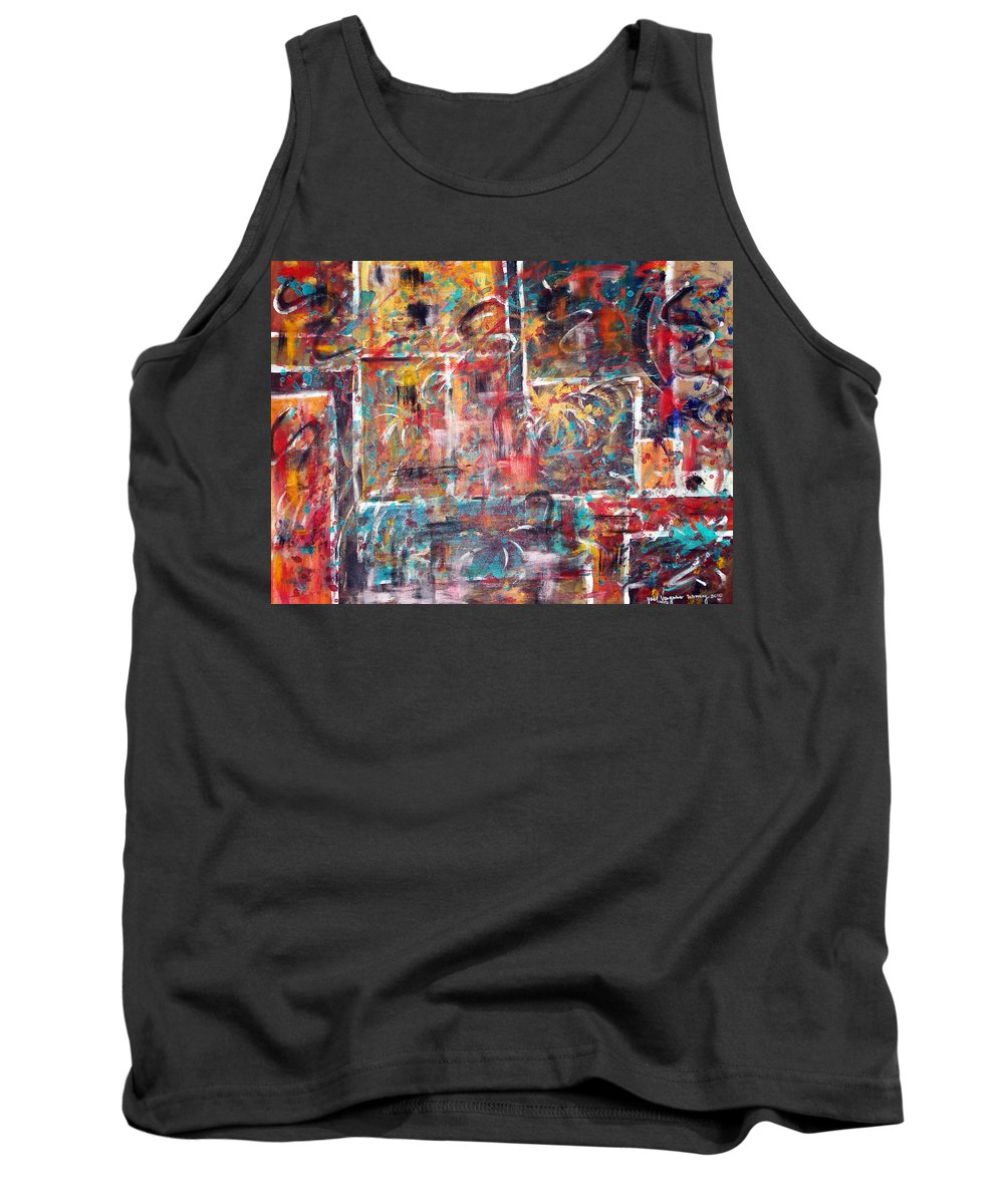 Acrylic Panting Tank Top featuring the painting Fire Works by Yael VanGruber