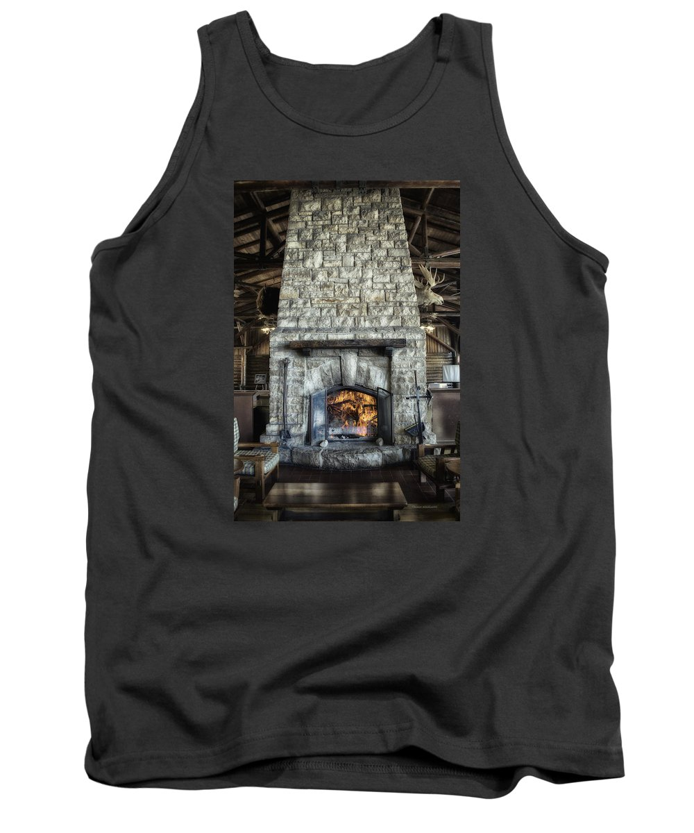 Fireplace Tank Top featuring the photograph Fireplace At The Lodge Vertical by Thomas Woolworth