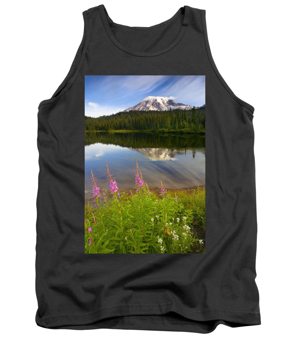 Fireweed Tank Top featuring the photograph Fireweed Reflections by Mike Dawson