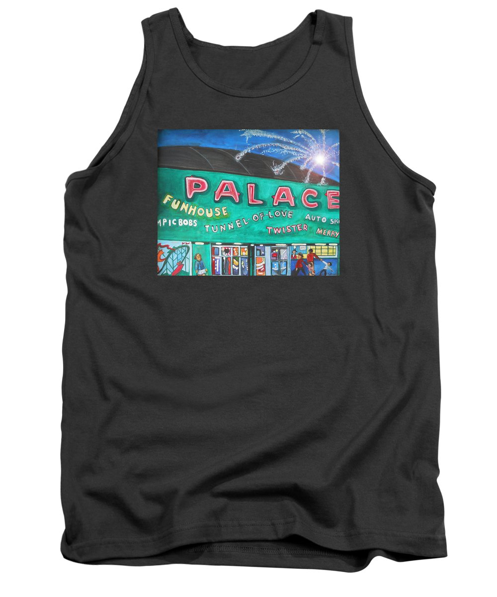 Asbury Park Art Tank Top featuring the painting Fireworks At The Palace by Patricia Arroyo