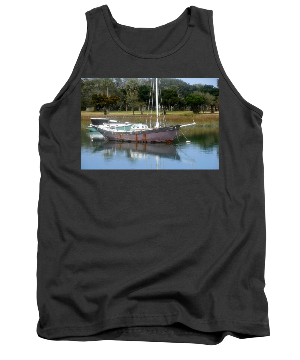 Boat Tank Top featuring the photograph First Harbor by David Lee Thompson