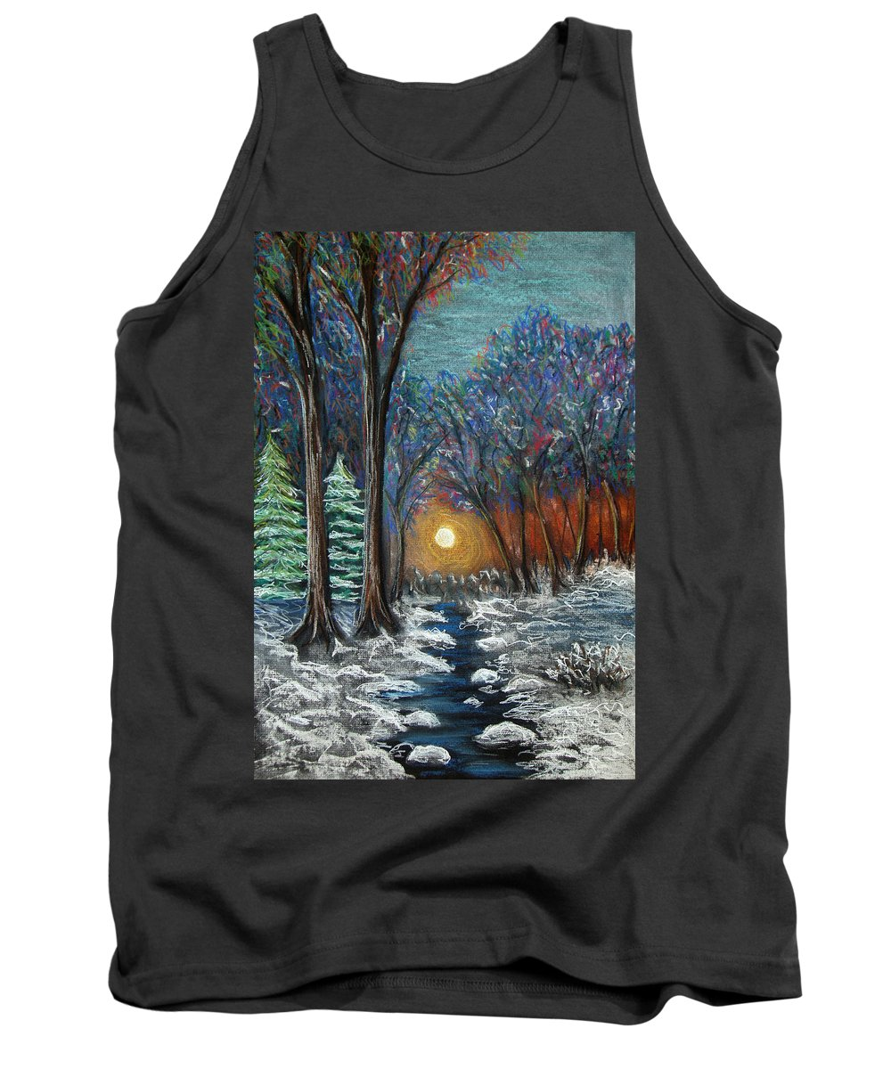 Snow Tank Top featuring the pastel First Snow by Nancy Mueller