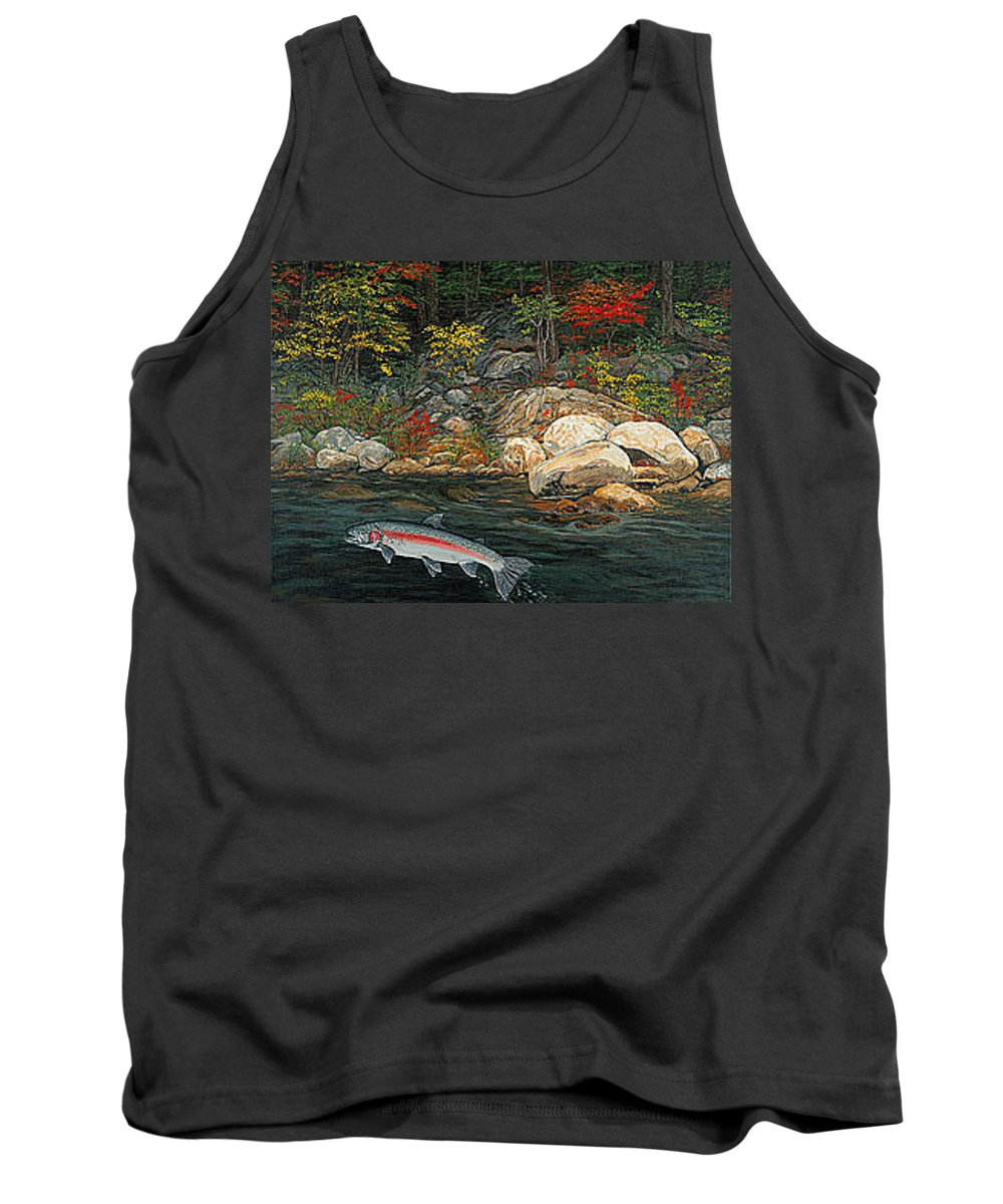 Art Tank Top featuring the painting Fish Art Jumping Silver Steelhead Trout Art Nature Artwork Giclee Wildlife Underwater Wall Art Work by Baslee Troutman