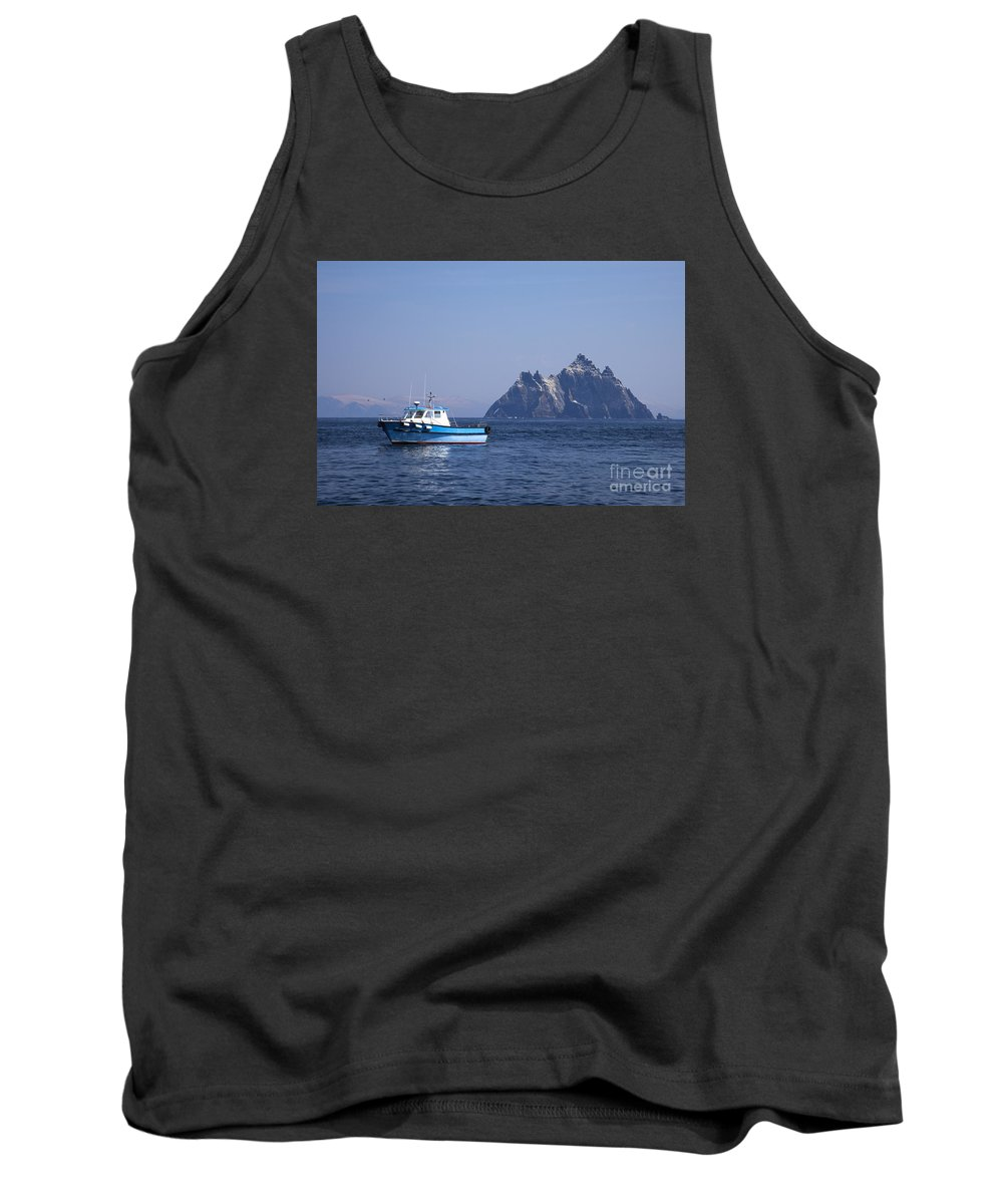 Fishing Tank Top featuring the photograph Fishing Boat Near Little Skellig, County Kerry, In Spring Sunshine, Ireland by Peter Barritt