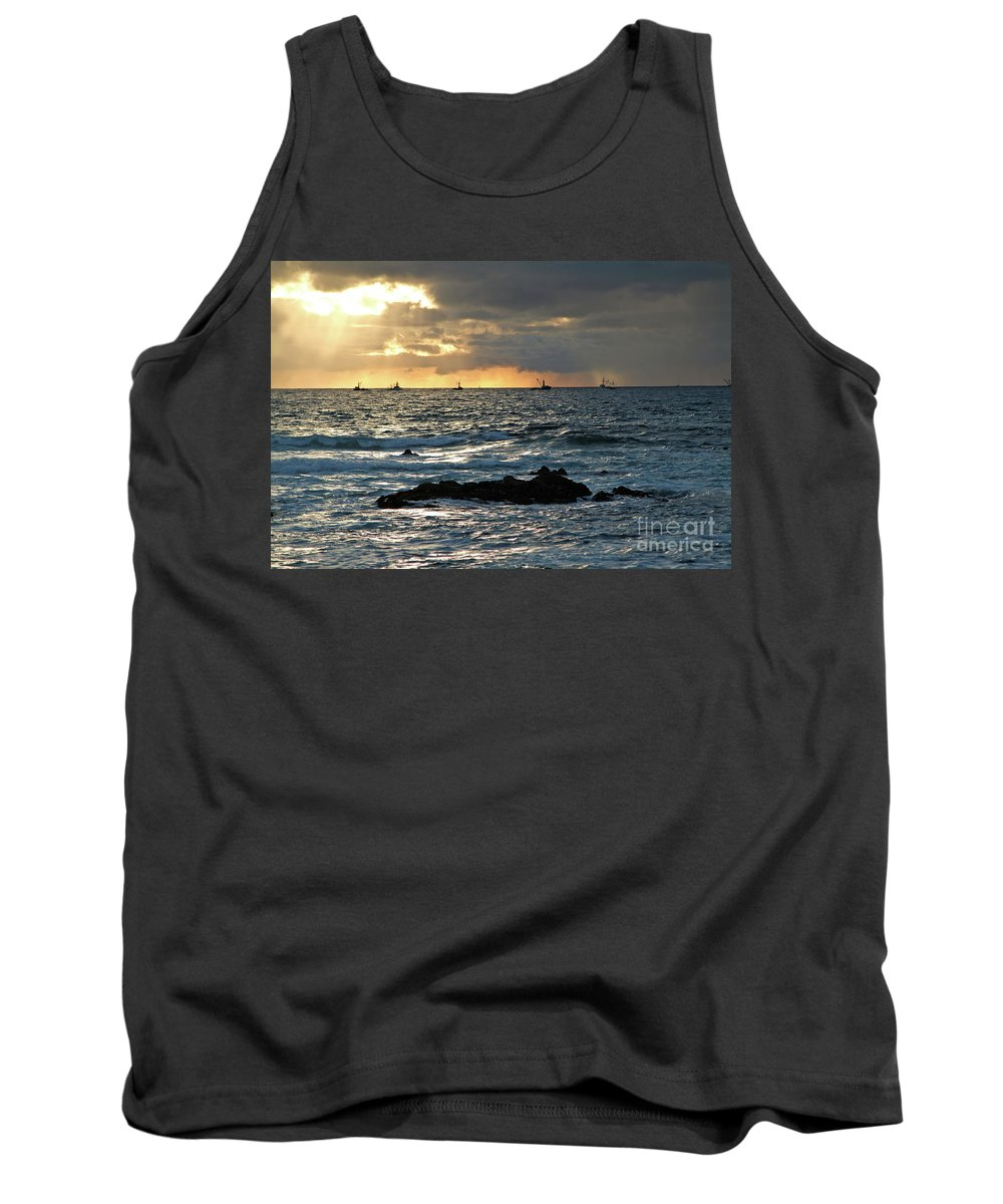 Fishing Boats Tank Top featuring the photograph Fishing Boats Off Point Lobos by Charlene Mitchell