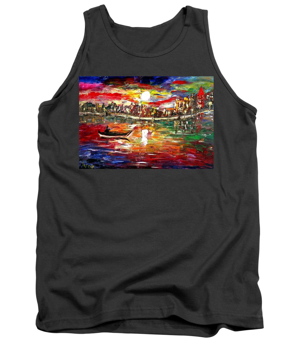 Art Tank Top featuring the painting Fishing In The Moonlight by Luiza Vizoli