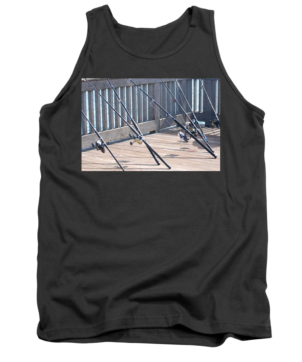 Pier Tank Top featuring the photograph Fishing Rods by Rob Hans