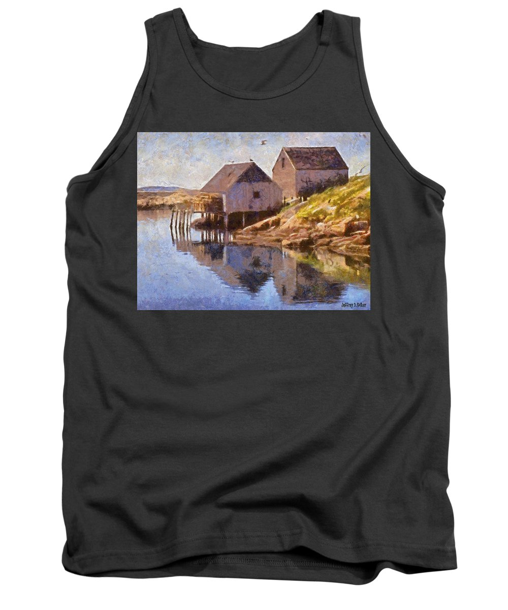 Canadian Tank Top featuring the painting Fishing Wharf by Jeffrey Kolker