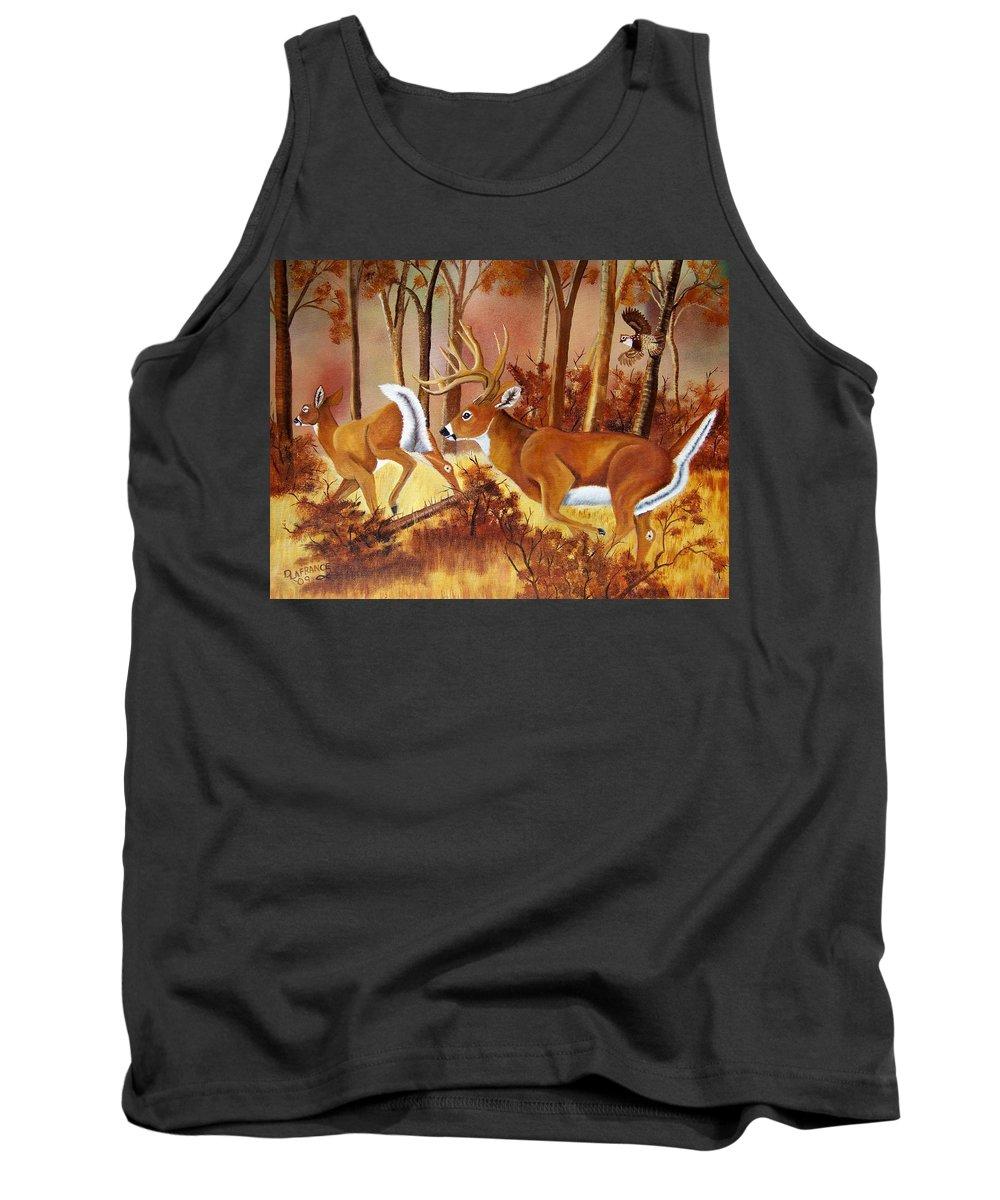 Deer Tank Top featuring the painting Flagging Deer by Debbie LaFrance